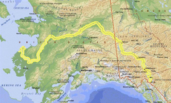 река Юкон на карте