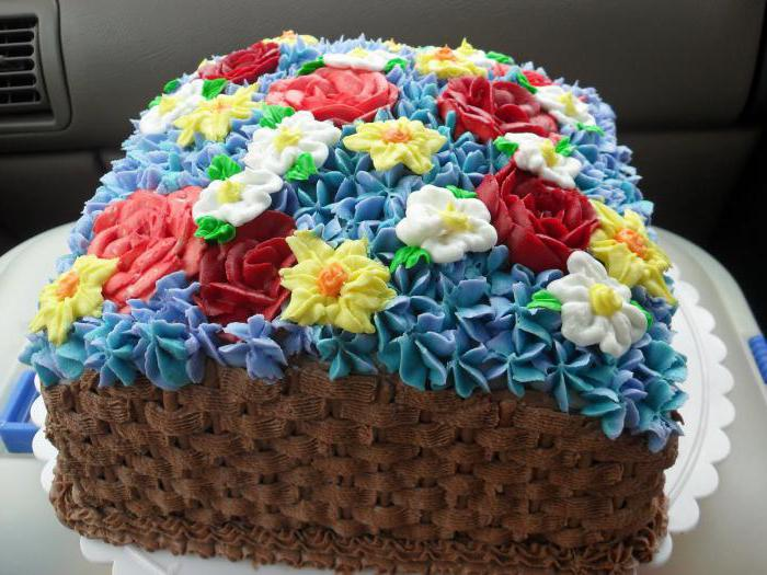 торт корзина с цветами из крема
