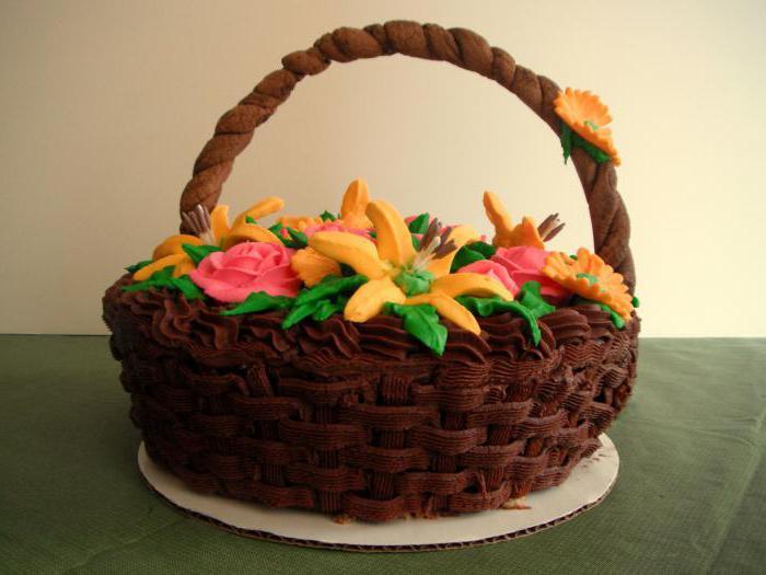 торт в виде корзины с цветами