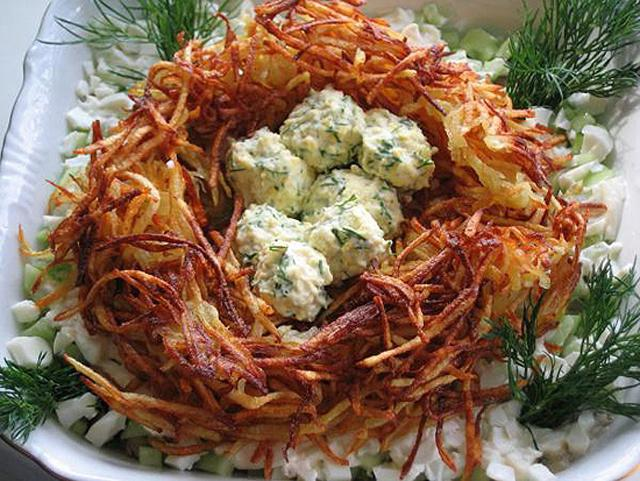 Рецепт салата гнездо глухаря пошаговый рецепт