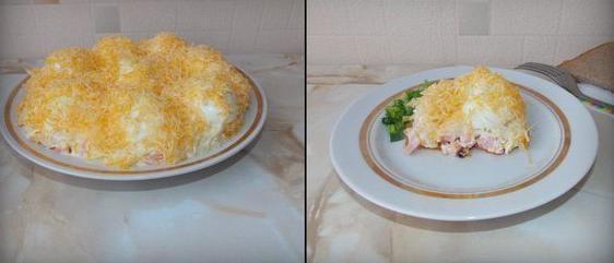 салат сугробы с колбасой