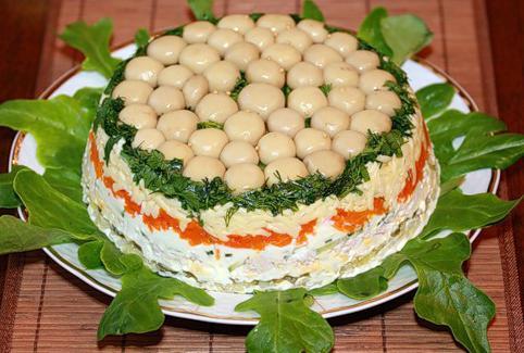 грибная поляна салат рецепт с курицей