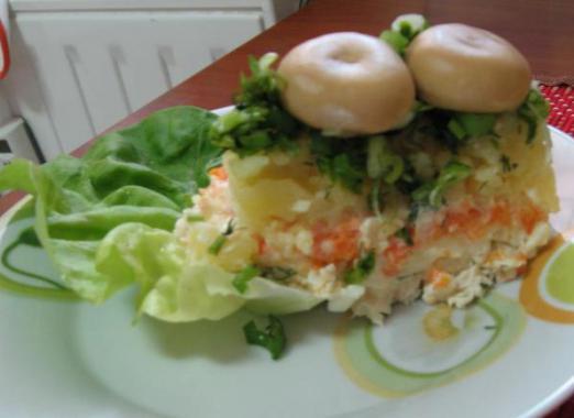 салат перевертыш грибная поляна