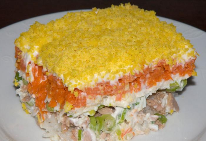 салат слоями с шпротами