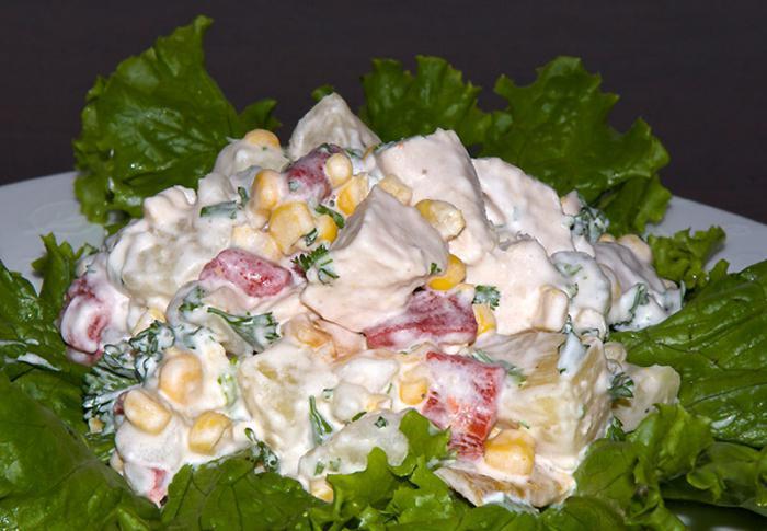 рецепт салата курица ананас грецкие