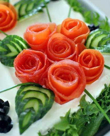Украшения на салаты из овощей 157