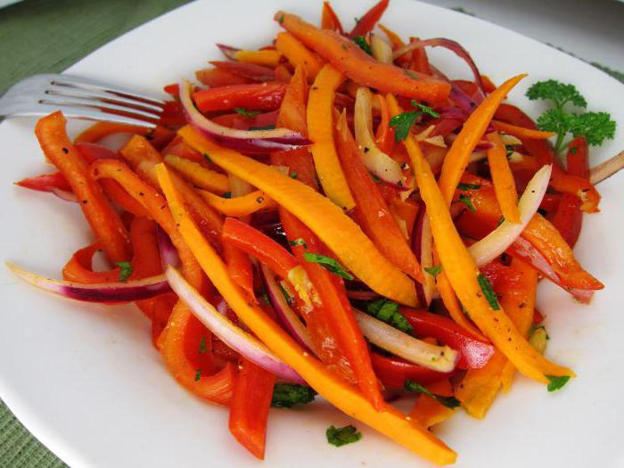 Салаты из перца помидоров моркови и лука