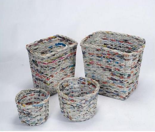 корзина из газетных трубочек