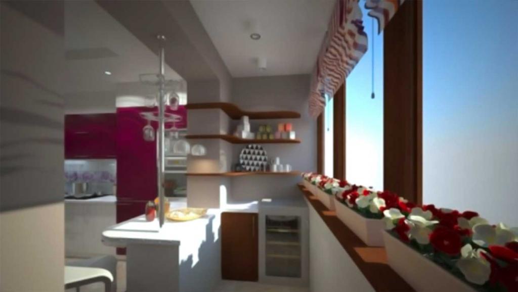 Отделка балкона объединенного с кухней