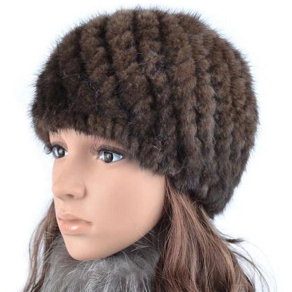 шапка норковая женская вязаная