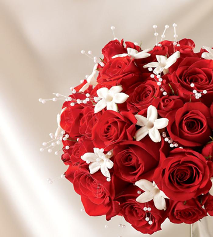 Алые розы с гипсофилой