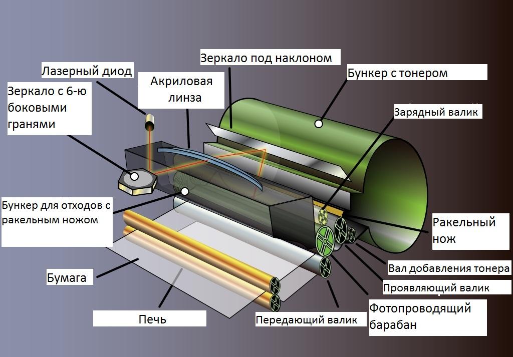 Basic elements of a laser printer