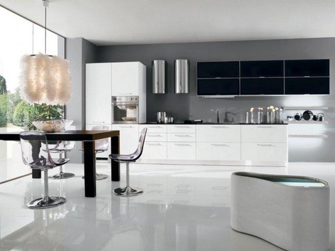 White glossy floor