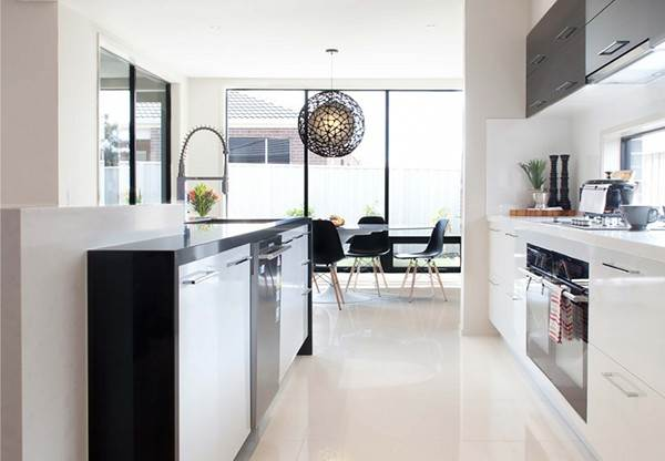 Kitchen with glossy bulk floor