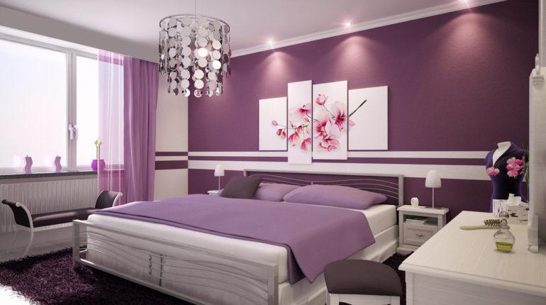 Фиолетовые обои в спальне: интересные варианты, комбинирование и удачные примеры с фото
