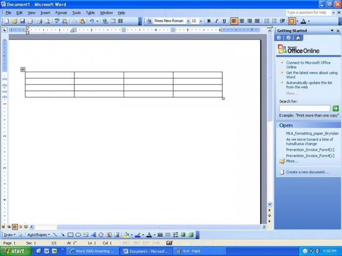 как создать таблицу в wordpad