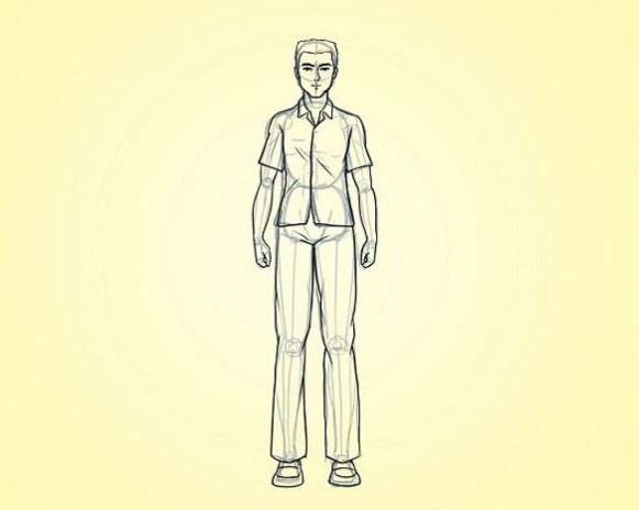 Как нарисовать человека стоя