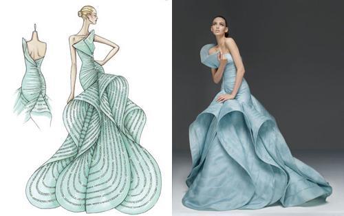Чертежи и эскизы женского платья