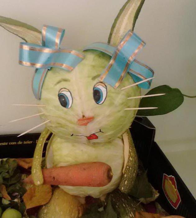 как сделать зайца из капусты поделку