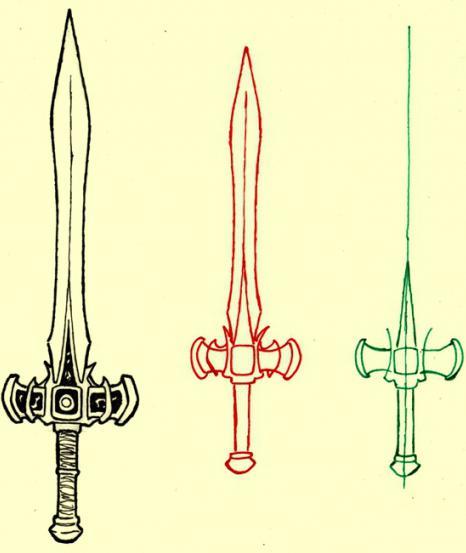 как нарисовать меч поэтапно
