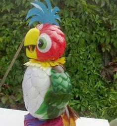поделка попугай из пластиковых бутылок