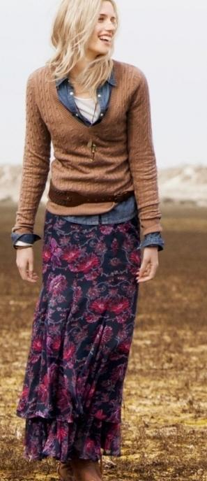 С чем носить длинную юбку в разные времена года