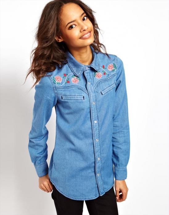 джинсовая рубашка женская фото