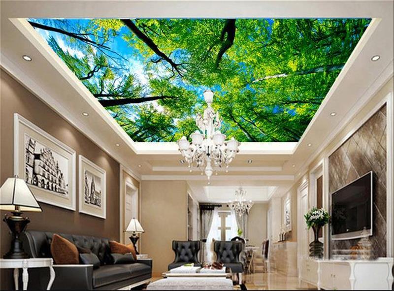 Потолок в гостиной с фотопечатью