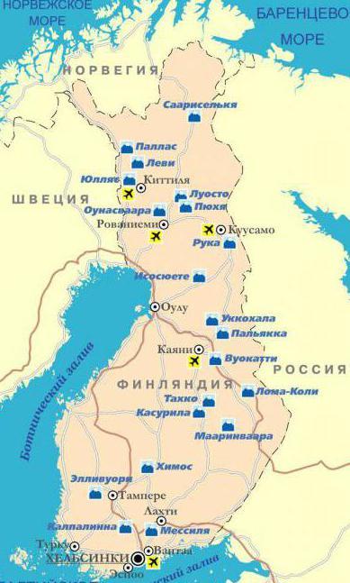 Горнолыжные курорты на карте Финляндии