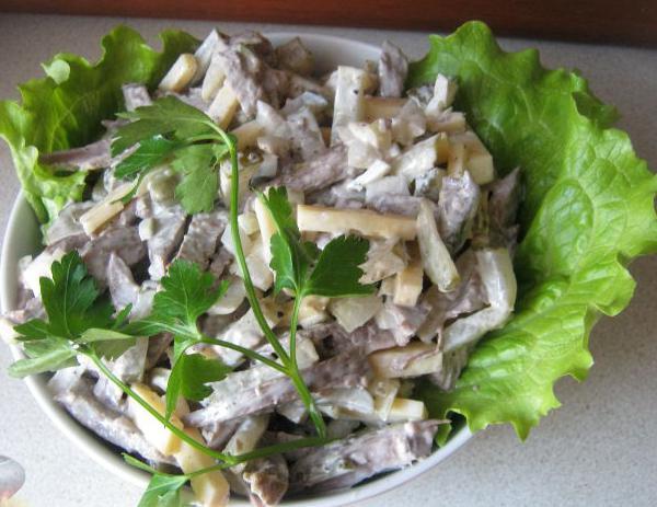 Салат с сердцем свиным и шампиньонами рецепты
