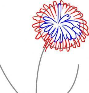 сделайте головку цветка пушистой