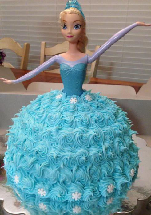 Торт с куклой эльзой