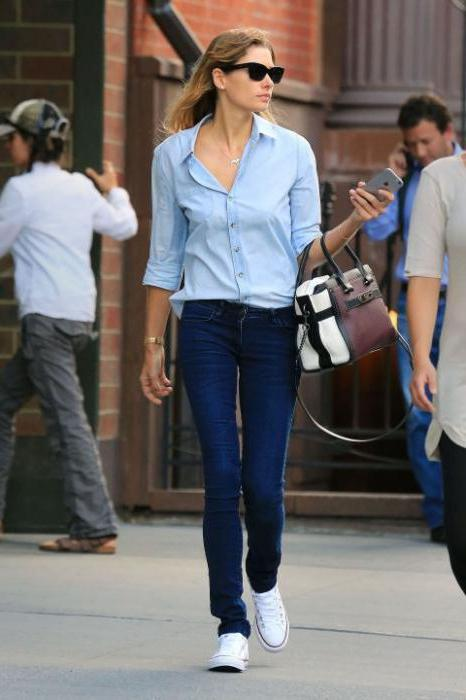 синие джинсы с чем носить фото