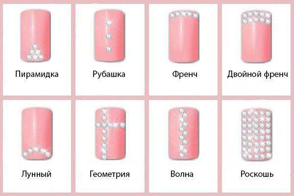 Маникюр со стразами на короткие ногти: идеи, фото