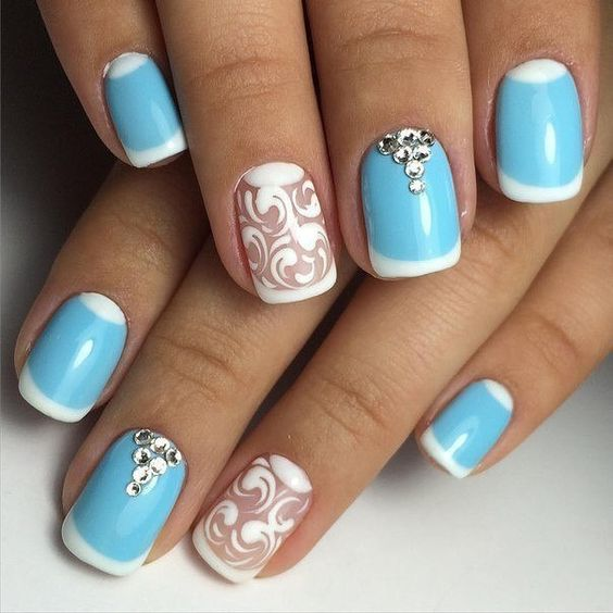 Синий френч на ногтях: фото, пошаговая инструкция