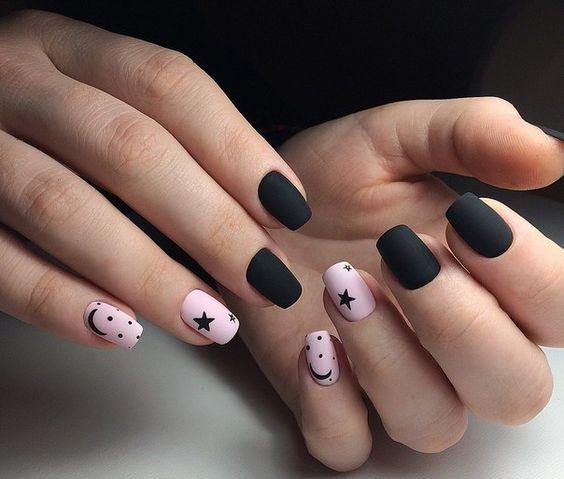black manicure with stars