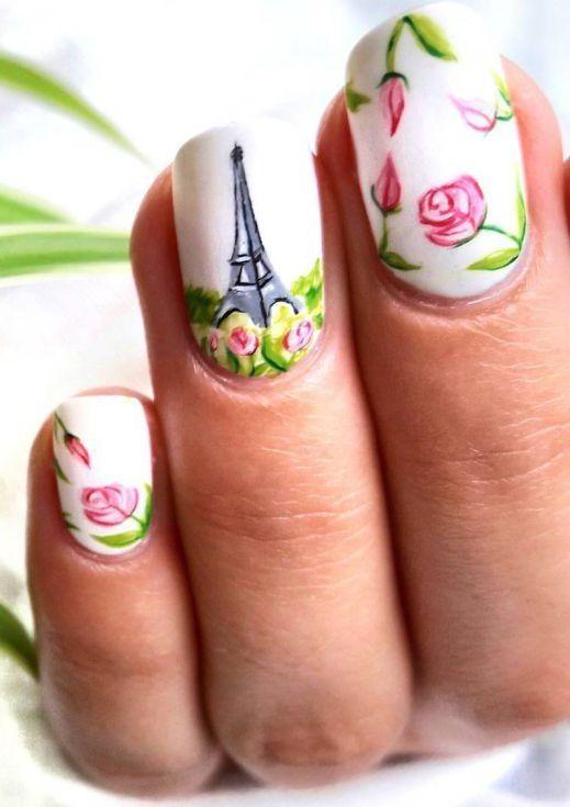 Как нарисовать на ногтях эйфелеву башню блестками