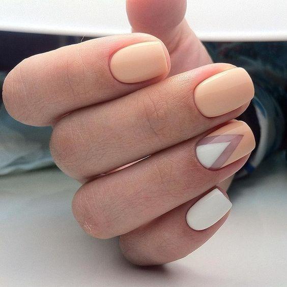 white-beige manicure design