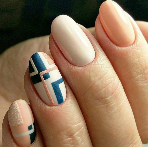 white beige manicure geometry