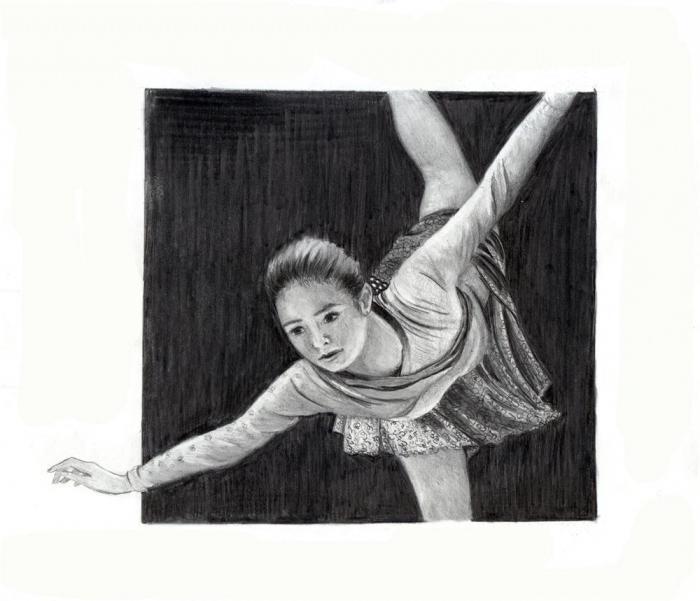 как нарисовать фигуристку карандашом