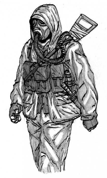 Рисунок человек в противогазе