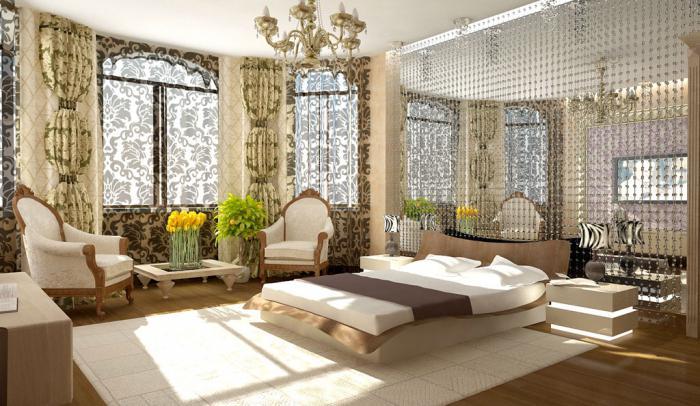 De combinatie van kleuren in het interieur van de slaapkamer