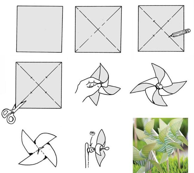Видео как сделать вертушку из бумаги своими руками