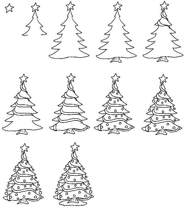 Christmas tree pencil drawing