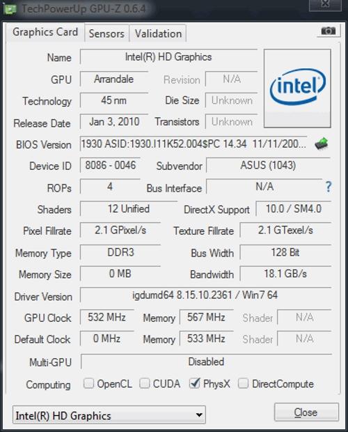Характеристики Intel GMA 4500M