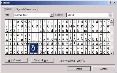 Знаки которых нет на клавиатуре.