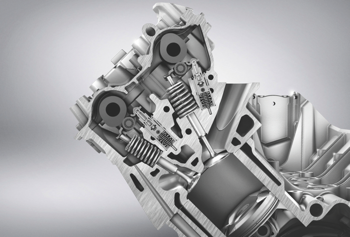 What does the cylinder head look like in a car engine