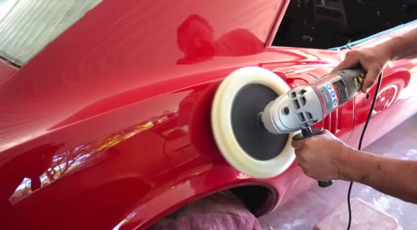 Polishing paste for a car photo