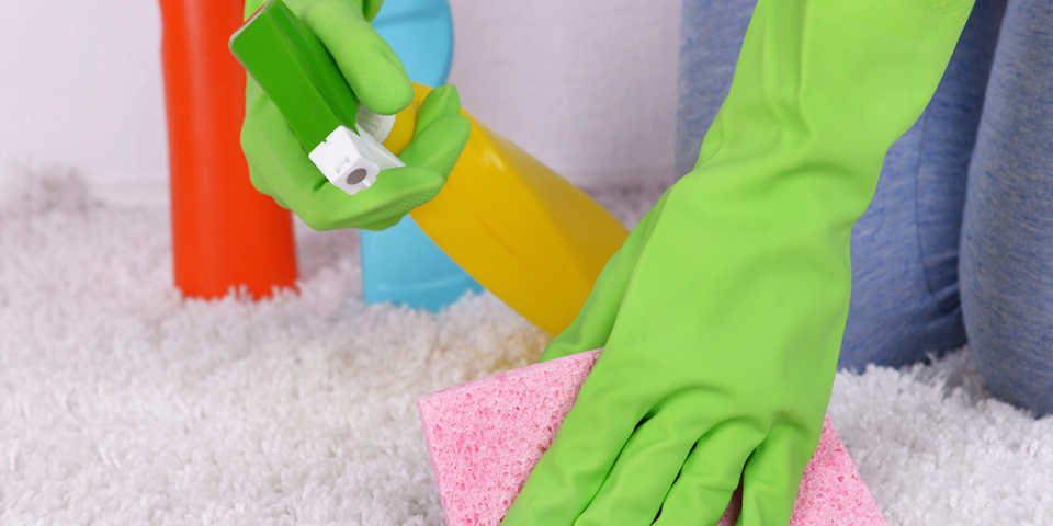 how to wash the green from the carpet if soaked deep
