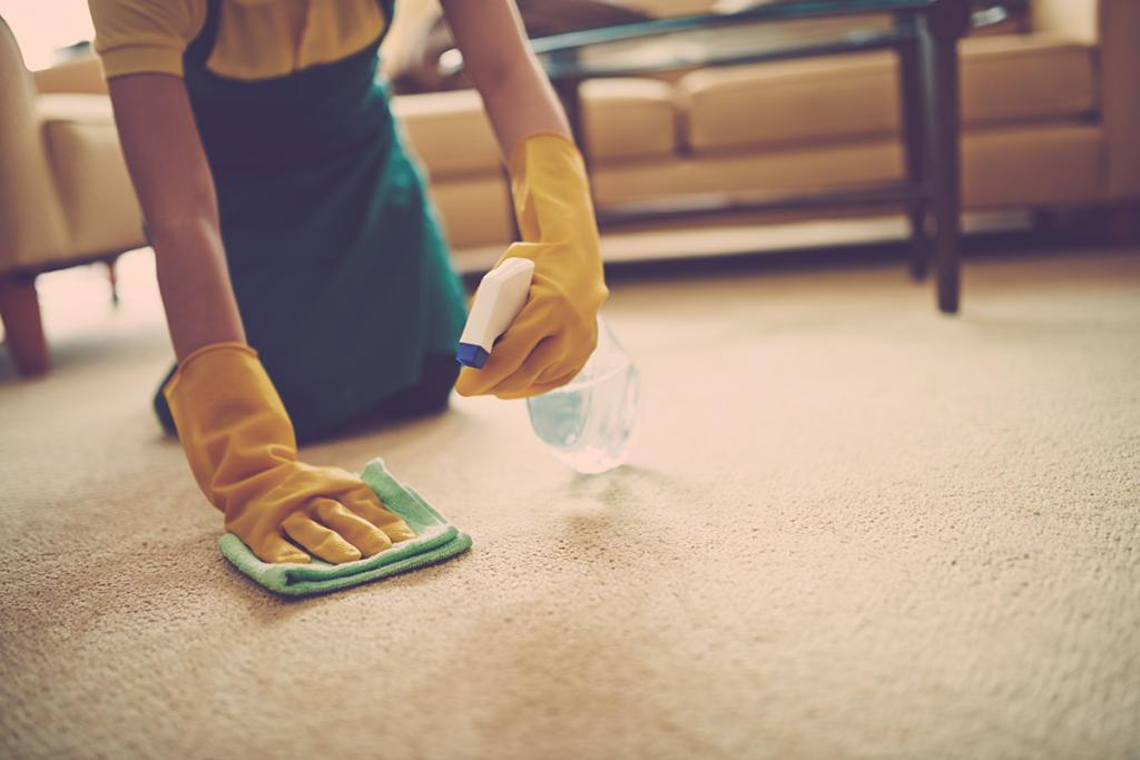 how to wash the green from the carpet if it is soaked deep